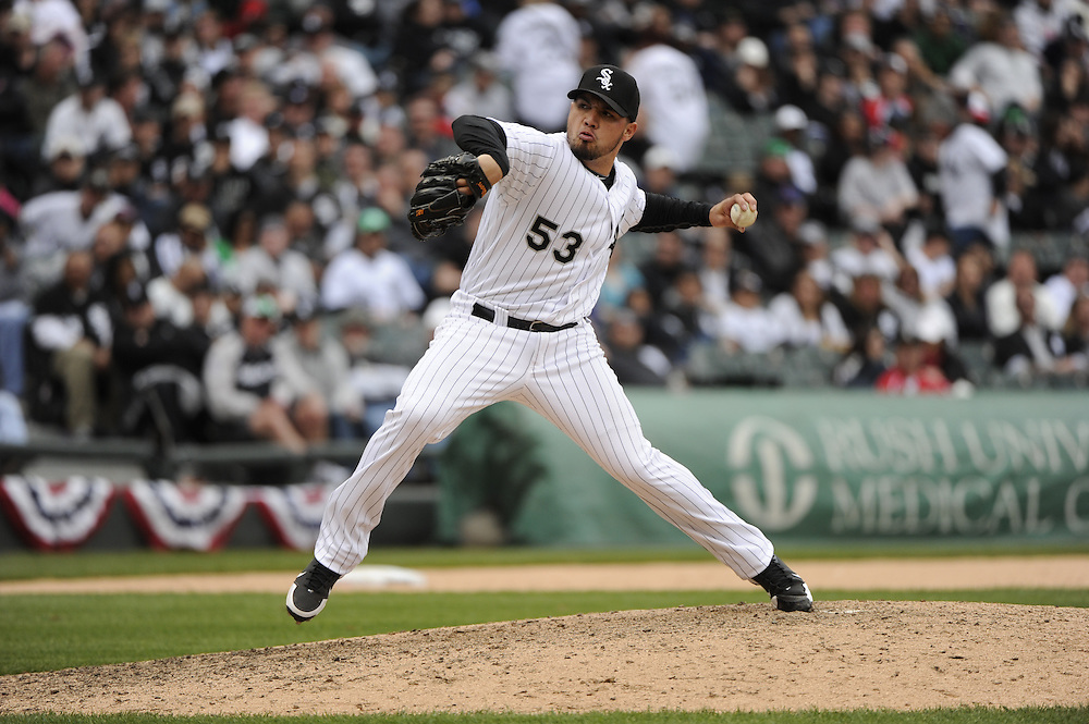 CHICAGO - APRIL 13:  Hector Santiago #53 of the Chicago White Sox pitches against the Detroit Tigers on Opening Day, April 13, 2011 at U.S. Cellular Field in Chicago, Illinois.  The White Sox defeated the Tigers 5-2.  (Photo by Ron Vesely)   Subject:  Hector Santiago