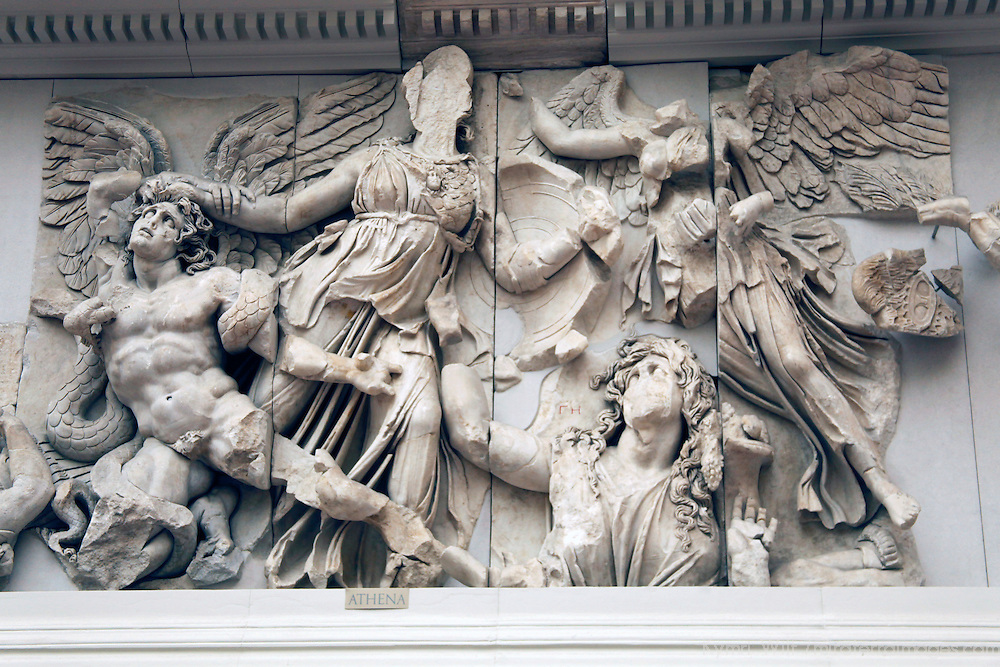 Europe, Germany, Berlin. Athena Frieze Pergamon Museum.