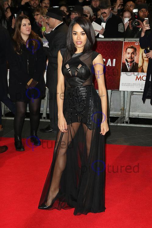 Jade Ewen, Mortdecai - UK film premiere, Leicester Square, London UK, 19 January 2015, Photo by Richard Goldschmidt