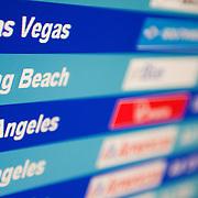 Flight status monitor at an airport.