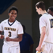 Sanford Warriors Guard MIKEY DIXON (3) celebrates in the final seconds of a Boys Basketball DIAA State Tournament Finals match between the Sanford Warriors and the St. Georges Hawks Saturday, Mar. 12, 2016, at The Bob Carpenter Sports Convocation Center in Newark, DEL.