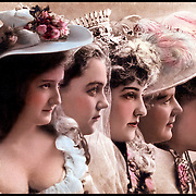 Profile view of five young women in fancy hats 1904