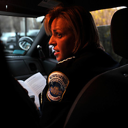 Police Chief Cathy L. Lanier talks with a fellow police officer on patrol in Washington, D.C. on March 16, 2009. Lanier, chief of police with the Metropolitan Police Department of the District of Columbia, MPDC, rose to her position from humble beginnings: she was a high-school dropout after ninth grade and an unwed mother at the age of 15. Despite a rough start, she later earned advanced academic degrees from the Johns Hopkins University and the Naval Postgraduate School in Monterey, Calif., where she completed a Masters in Security Studies. Lanier also attended the John F. Kennedy School of Government at Harvard University and is a graduate of the FBI Academy and the University of the District of Columbia. She has been on the force for 18 years.