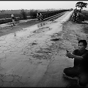 A blind Cambodian man is seen begging for money on a rural road on the outskirt of Siem Reap, Cambodia.