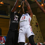 Erie BayHawks Center NNANNA EGWU (32) and Delaware 87ers Forward DAVID LAURY (13) fight for the rebound in the first half of a NBA D-league regular season basketball game between the Delaware 87ers and the Erie BayHawks Tuesday, Mar. 29, 2016, at The Bob Carpenter Sports Convocation Center in Newark, DEL.