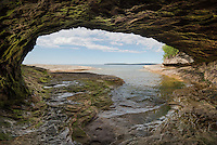 Looking out from a lakeside cave at the Lake Superior shore.  Michigan's Upper Peninsula