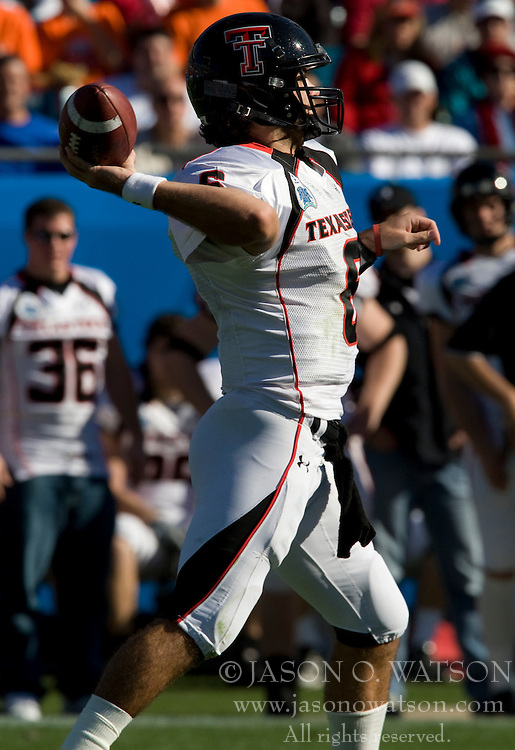 Texas Tech quarterback Graham Harrell (6) throws a pass against UVA.  The Texas Tech Red Raiders defeated the Virginia Cavaliers 31-28 in the 2008 Konica Menolta Gator Bowl held at the Jacksonville Municipal Stadium in Jacksonville, FL on January 1, 2008.
