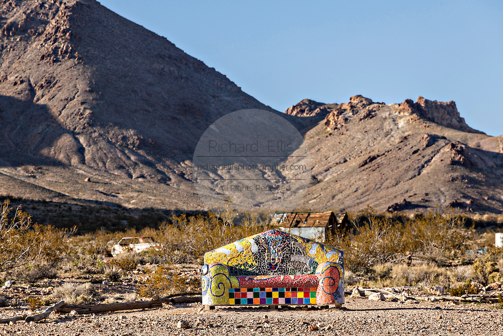 Public sculpture called Sit Here! at the open air museum in Goldwell, NV.