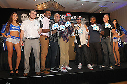 Aug 30, 2012; Brooklyn, NY, USA; (L to R) Dmitriy Salita, Danny Jacobs, Luis Collazo, Peter Quillen, Paulie Malignaggi, Eddie Gomez and Boyd Melson at the press conference at New York Marriott at the Brooklyn Bridge. The press conference announced the upcoming October 20th card at the Barclay's Center.