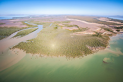Aerial view of Point Torment, east of Derby, site of a proposed port facility on the Kimberley coast for the export of coal, oil, gas and uranium.