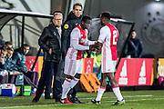 AMSTERDAM - Jong Ajax - FC Eindhoven , Voetbal , Jupiler league , Seizoen 2016/2017 , Sportpark de Toekomst , 24-02-2017 , Jong Ajax speler Deyovaisio Zeefuik (r) wordt al vroeg gewisseld voor Jong Ajax keeper Terry Lartye Sanniez (l)