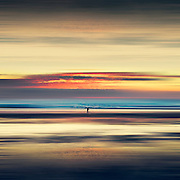 Abbstract seascape and beach at sunset