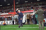 Jackie Mudie leads out former Pool legends Jock Dodds and Sir Stanley Matthews prior to the fixture against Lincoln City at Bloomfield Road 13/10/1991