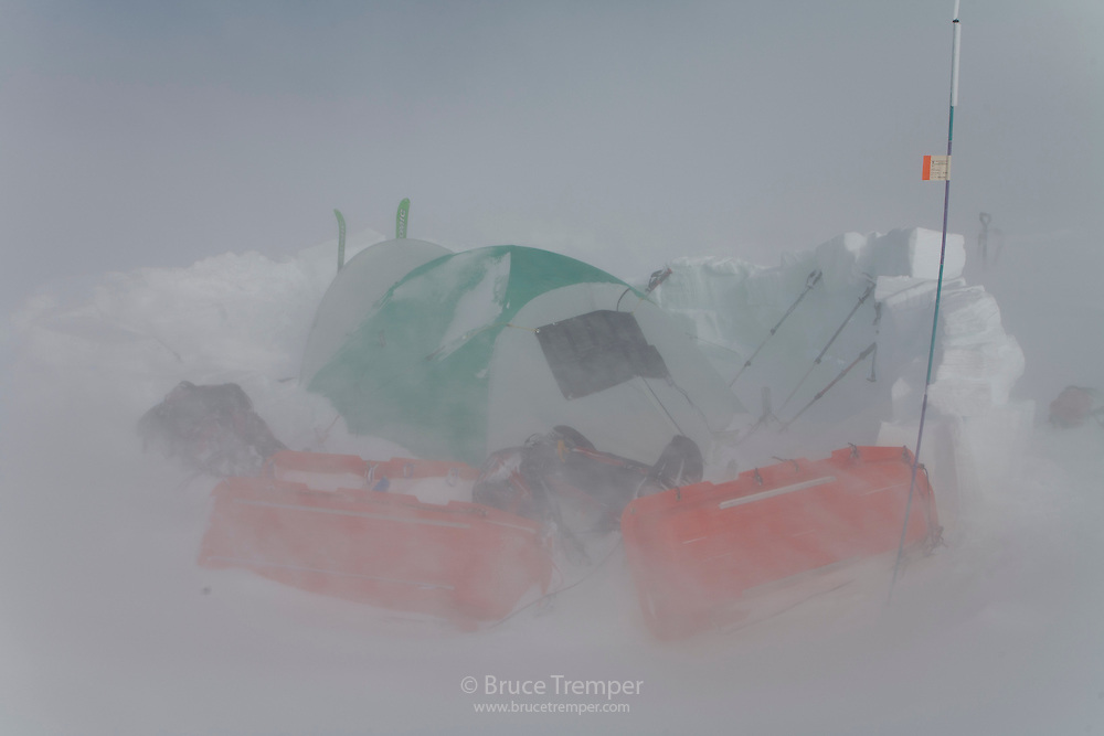 Camp just below 18,000' on the Harper Glacier, Mt. McKinley, Denali National Park, Alaska.  We were trapped on this relatively wind-sheltered area for two nights by a ferocious wind storm.  It is just north of Denali Pass on the Muldrow Traverse route.
