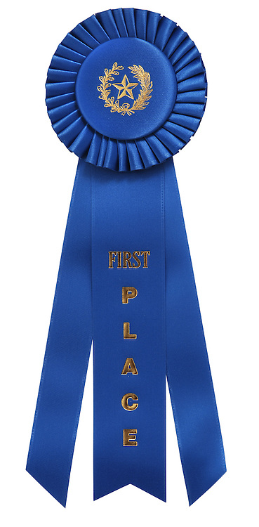 """classic blue ribbon with """"First Place"""" embossed on center ribbon. Isolated on white with clipping path"""