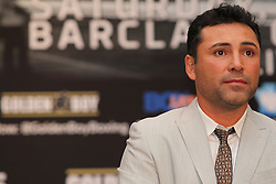Aug 30, 2012; Brooklyn, NY, USA; Promoter Oscar DeLaHoya speaks at the press conference at New York Marriott at the Brooklyn Bridge. The press conference announced the upcoming October 20th card at the Barclay's Center.
