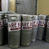 Canada, Nova Scotia, Guysborough. Rare Bird Microbrewery craft beer kegs.