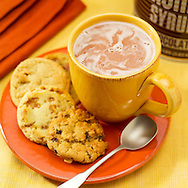 Hot chocolate with a side of chocolate chip cookies.