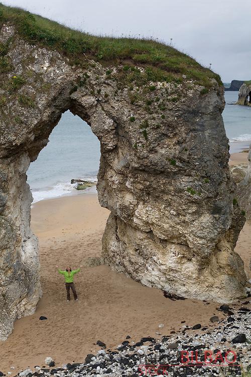 free-standing arch on White Rocks Beach. Antrim Coast in Antrim County. Northern Ireland, United Kingdom (1)