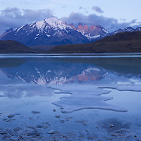 Early light casts a cool light on the peaks in Terres del Paine, Chili