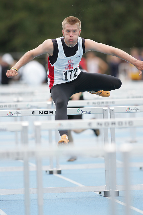 Austin Roth competing in the sprint hurdles at the 2007 Ontario Legion Track and Field Championships. The event was held in Ottawa on July 20 and 21.