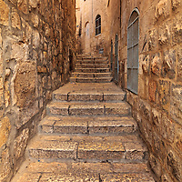 A narrow street in the Jewish Quarter of the Old City of Jerusalem.