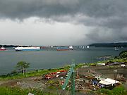 Panama-2014<br /> Ships approach to Atlantic locks from Gatun Lake