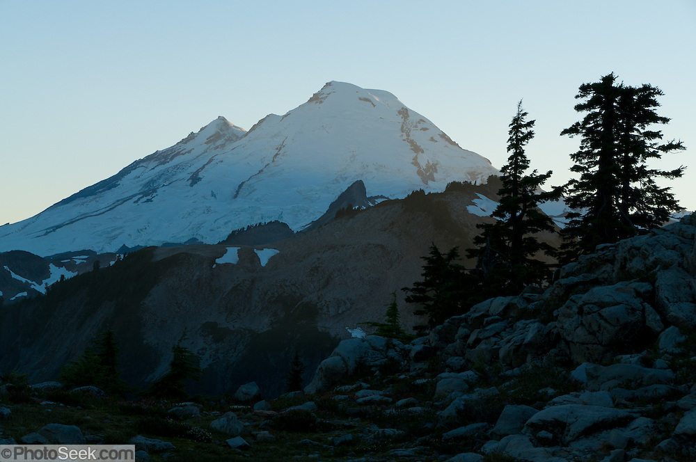 Mount Baker, located in Mount Baker Wilderness, seen from Table Mountain hike, North Cascades mountains, Washington, USA.