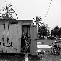 The outdoor facilities of the Al Jazeera paralympics club. Members train in a small soccer field in the city of Gaza