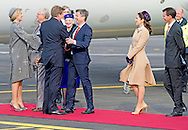 17-3-2015 COPENHAGEN - King Willem-Alexander and Queen Maxima of The Netherlands arrive at the airport Kastrup welcomed by Queen Margarethe, Prince Henrik, Crown Prince Frederik, Crown Princess Mary, Prince Joachim, Princess Marie, Princess Benedikte and Prince Richard in Copenhagen, 17 March 2015. The Dutch King and Queen are in Denmark for an two day state visit. COPYRIGHT ROBIN UTRECHT