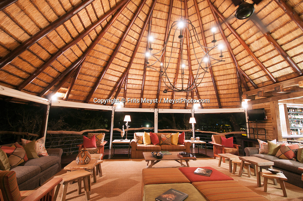 Kapama Private Game Reserve, Mpumalanga, South Africa, september 2011. The Buffalo Camp Tent Lodges. The northern Drakensberg mountain range provides a majestic backdrop to the largest private game lodge in the Greater Kruger National Park region. Kapama River Lodge is situated within Kapama Game Reserve, and presents the perfect blend between luxurious safari accommodation with thrilling up close and personal experiences with the enormous wildlife diversity. Bordered by Mozambique and Zimbabwe, Krugerpark is about 65km wide and 350km long. It is south Africa's largest National Park and one of the world's best known nature conservation areas. Photo By Frits Meyst/Adventure4ever.com.