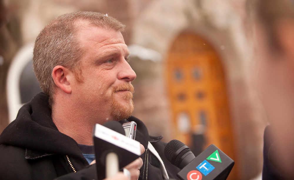 Woodstock, ONT.: February 7, 2011 --  Rodney Stafford, father of slain 8 year old Woodstock, Ontario girl, Victoria Stafford, speaks to reporters outside the Woodstock courthouse, February 7, 2011. One of the accused, Michael Rafferty, was in court for a pretrial hearing.<br /> (GEOFF ROBINS/ Postmedia News)