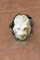 marble lion head in stone