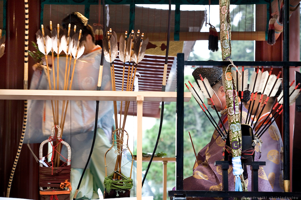 Arrows on display during an outdoors preperatory ritual for Yabusame (horse-riding archery shinto ritual), on the 3rd day of the 3-day anual festival of Tsurugaoka Hachimangu shrine in Kamakura.