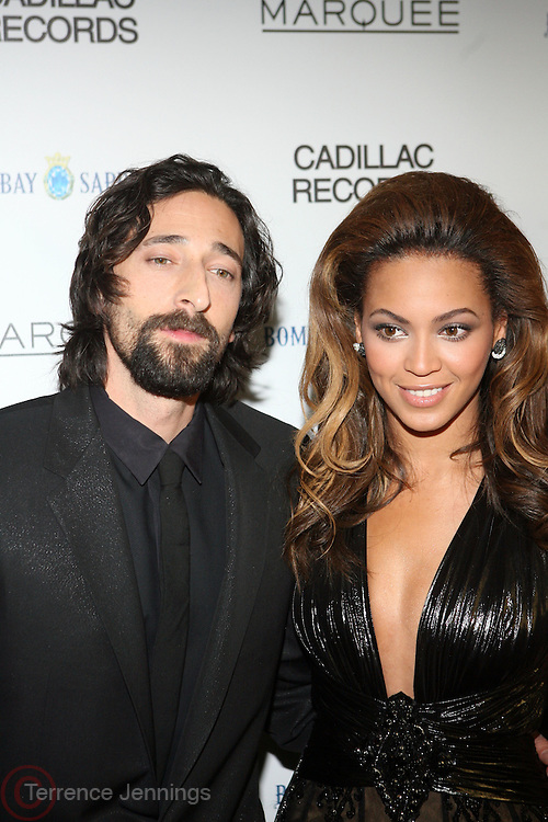 """l to r: Andy Brody and Beyonce at the ' Cadillac Records' premiere at held at AMC Broadway 19th Street on Decemeber 1, 2008 in NYC..In this tale of sex,, violence, race, and rock and roll in the 1950's Chicago, 'Cadillac Records"""" follows the exciting but turbulent lives of some America's musical legends including Muddy Waters, Leonard Chess, Little Walter, Howlin' Wolf, Chuck Berry and Etta James."""