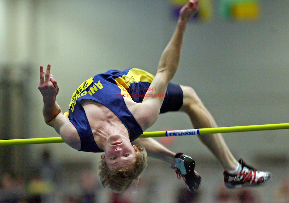 (02/20/10-Boston,MA.) MIAA Indoor Track and Field Championships at Reggie Lewis Track. Here, High Jumper Andrew Osborne of Andover hits the bar.  Staff photo by Mark Garfinkel