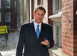 © Licensed to London News Pictures. 26/04/2017. London, UK. Health Secretary Jeremy Hunt is seen walking from Conservative Party Headquarters.  Parliament will be dissolved on Wednesday 3rd May ahead of the general election on June 8th, 2017.  Photo credit: Peter Macdiarmid/LNP