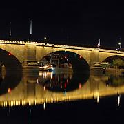 Reflection of the London Bridge on the waterway in Lake Havasu City, Arizona.