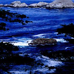 Overlooking waves crashing on rocks, Carmel Highlands, California