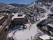 SHOT 3/2/17 12:11:08 PM - Aerial photos of Park City, Utah. Park City lies east of Salt Lake City in the western state of Utah. Framed by the craggy Wasatch Range, it's bordered by the Deer Valley Resort and the huge Park City Mountain Resort, both known for their ski slopes. Utah Olympic Park, to the north, hosted the 2002 Winter Olympics and is now predominantly a training facility. In town, Main Street is lined with buildings built primarily during a 19th-century silver mining boom that have become numerous restaurants, bars and shops. (Photo by Marc Piscotty / © 2017)