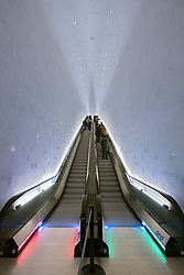 Elbphilharmonie, Hamburg, Germany; Curved escalator inside new opera house in Hamburg, Germany.