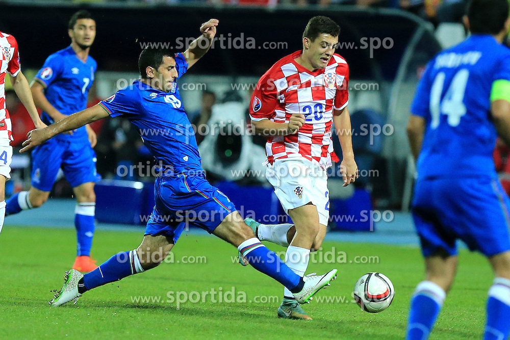 13.10.2014, Stadion Gradski vrt, Osijek, CRO, UEFA Euro Qualifikation, Kroatien vs Aserbaidschan, Gruppe H, im Bild Rahid Amirguliyev, Mateo Kovacic. // during the UEFA EURO 2016 Qualifier group H match between Croatia and Azerbaijan at the Stadion Gradski vrt in Osijek, Croatia on 2014/10/13. EXPA Pictures &copy; 2014, PhotoCredit: EXPA/ Pixsell/ Marko Mrkonjic<br /> <br /> *****ATTENTION - for AUT, SLO, SUI, SWE, ITA, FRA only*****