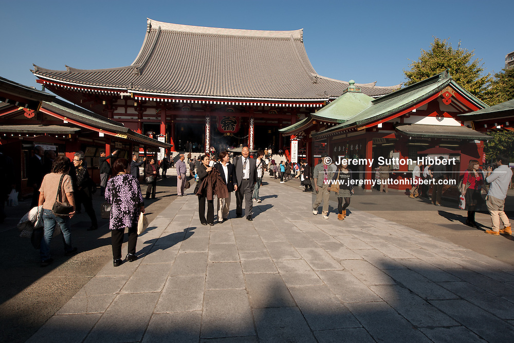 Senso-ji Temple, with the Hozomon gate and the five-storey pagoda, in Asakusa district of Tokyo, Japan, Monday 7th November 2011.