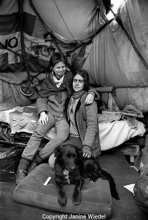 The anti-nuclear Greenham Common Women's Peace Camp in 1983 / 1984. The women only camp surrounded the RAF  base in Berkshire (UK) where American cruise missiles were being stored.tents