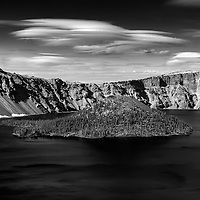 Crater Lake Wizard Island 4 PM monochrome
