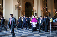 President Alan Garcia leaves Easter mass at La Catedral de Lima on Sunday, Apr. 12, 2009 in Lima, Peru.