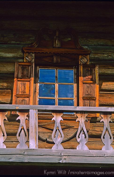 Europe, Russia, Kizhi Island. Window in wooden building.
