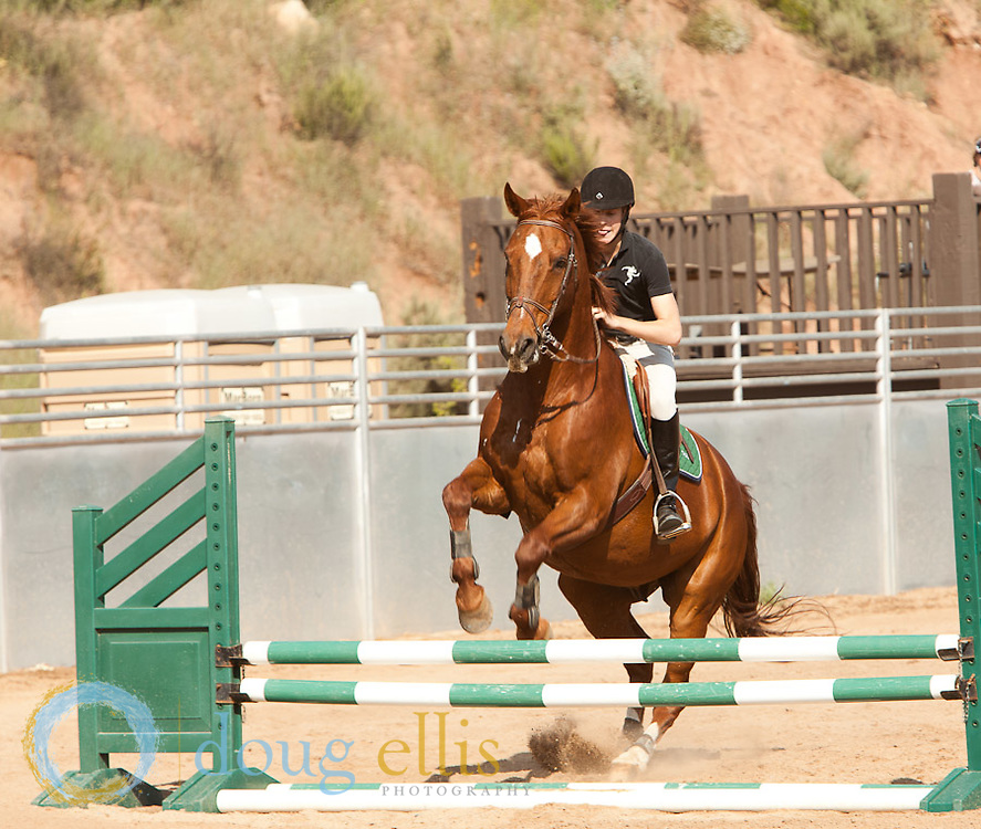 English horse riding and horse jumping, Thacher School Ojai CA.