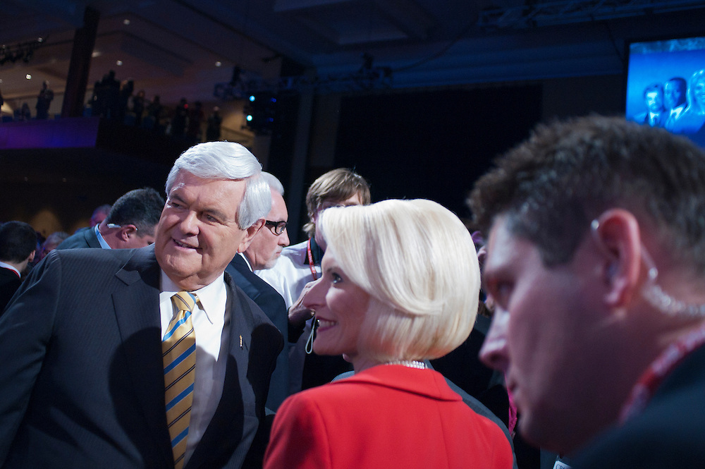 Former Speaker of the House NEWT GINGRICH and his wife CALLISTA work the crowd at the annual Conservative Political Action Conference (CPAC) in Washington, D.C. on Friday.  CPAC, which began in 1973, attracts more than 10,000 people and The American Conservative Union, which runs it, announced it expected 1,200 members of the media.