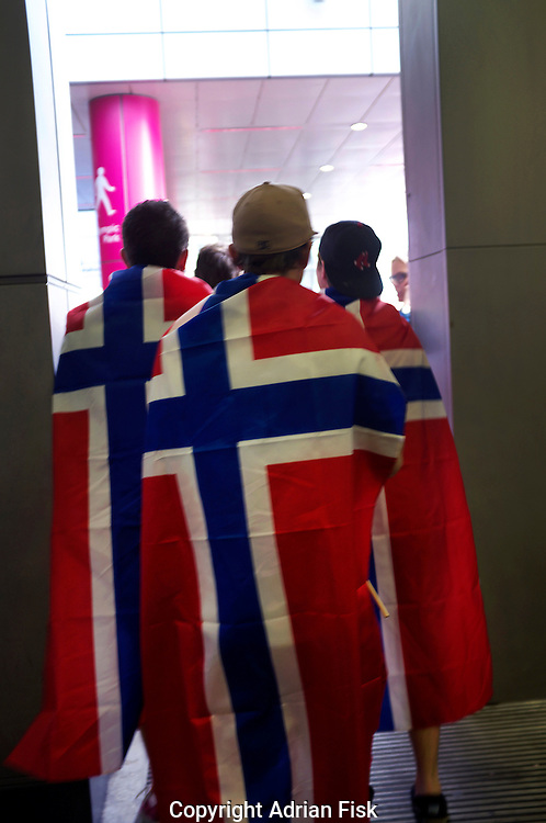 Fans of the Danish Olympic team arrive at Stratford